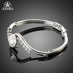 White Gold Stellux Austrian Crystal Bangle Bracelet