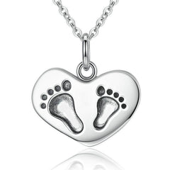 Lucky To Have A Mom Like You Baby Feet Necklace