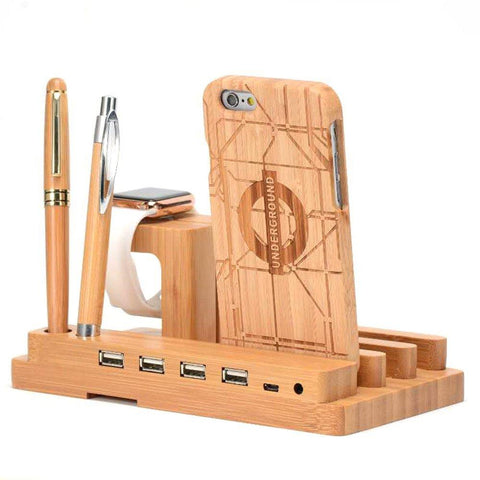 Bamboo Wood Charge Dock - Looker Gifts