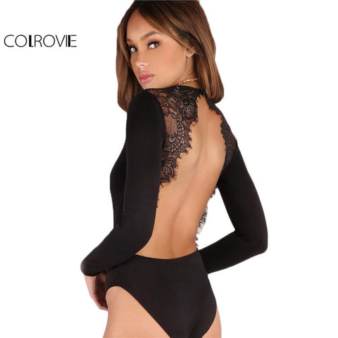 Backless Lace Patchwork Bodysuit - Looker Gifts