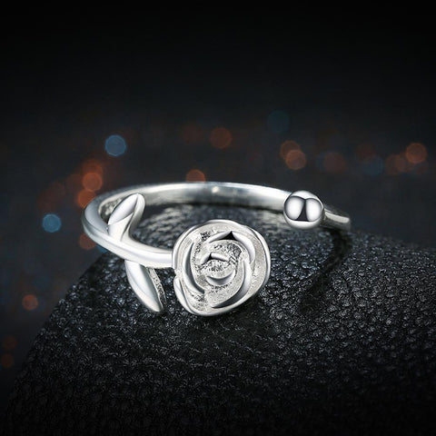 SIlver Rose Flower Love Ring - Looker Gifts