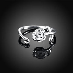 SIlver Rose Flower Love Ring
