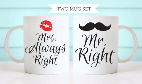 Mr. Right & Mrs. Always Right 2 Mug Set - Looker Gifts