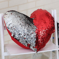 Sequin Heart Pillow Case
