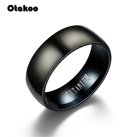 Otakoo 2018 New Black Men Ring 100% Titanium Carbide Men's Jewelry Wedding Bands Classic Boyfriend Gift - Looker Gifts
