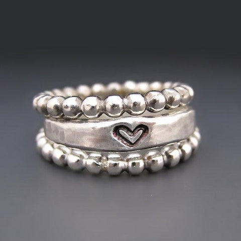 ONE Sterling Silver Heart Stacking Ring - Looker Gifts