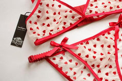 Sheer Red Heart Lingerie Set