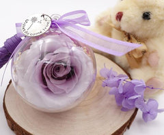 Preserved Flower Keychain w/ leather strap