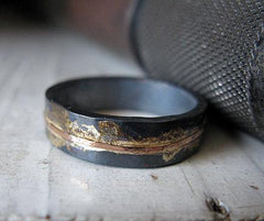 Oxidized Rustic Wedding Band