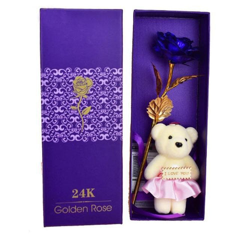 24K Golden Rose with Teddy Bear - Looker Gifts