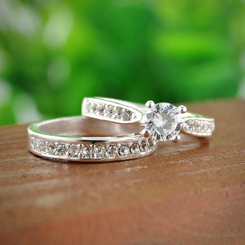 Silver Crystal Engagement Rings - Looker Gifts