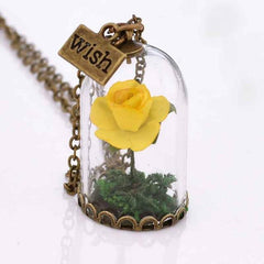 Rose Encased Wish Pendant