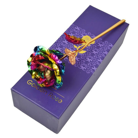 Golden Multicolor Rose W/Box - Looker Gifts