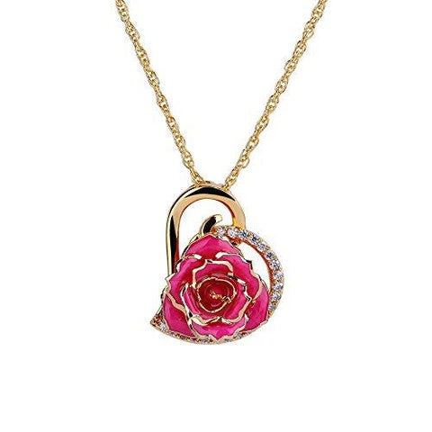 24K Gold Plated Rose Necklace - Looker Gifts