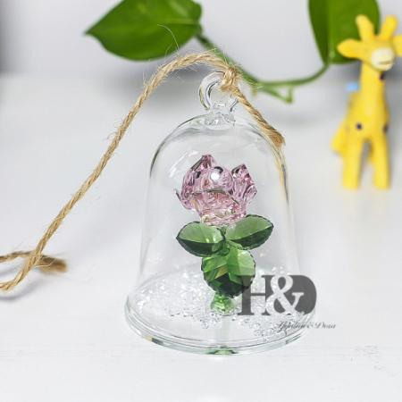 Enchanted Rose Crystal in Glass Dome - Looker Gifts