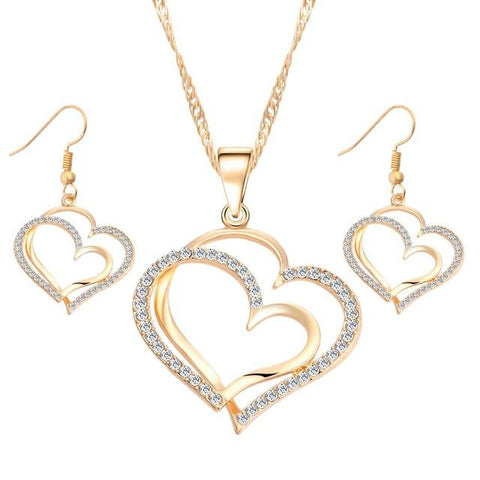 Romantic Heart Crystal Earrings & Necklace Set - Looker Gifts