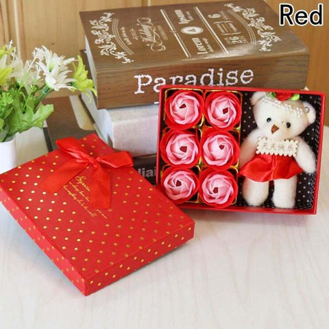 Romantic Gift Box w/Rose Soaps and Bear - SALE! - Looker Gifts