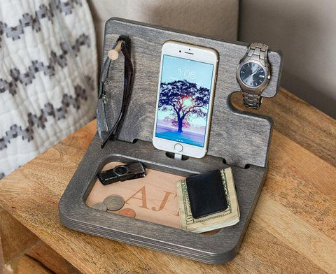 Engraved Wooden Night Stand Organizer - Looker Gifts