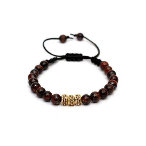 Macrame Drawstring Styled Lux CZ Studded Bracelet in Red Tiger Eye Gemstone Beads