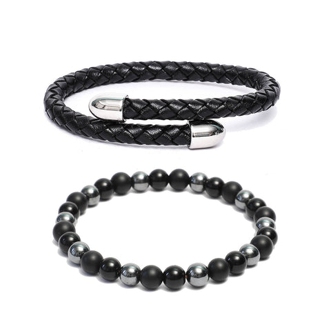 Bracelet Combo: Black Leather Cuff Bracelet & Link Bracelet in Hematite, Black Onyx Gemstone Beads