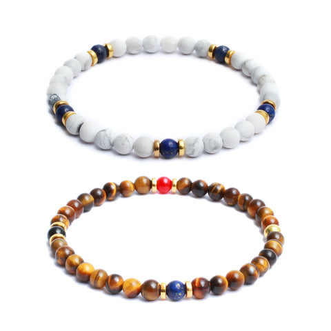 Bracelet Combo: Beaded Link Bracelets in Tiger Eye, Howlite, Lapis Lazuli, Black Onyx, Red Coral Gemstone Beads