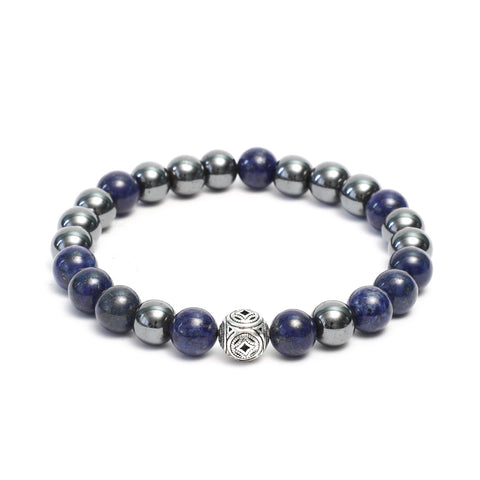 10mm Tribal Deco Bracelet in Lapis Lazuli, Hematite Gemstones