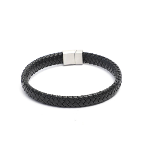 12x6mm Narrow Weave Black Flat Leather Bracelet with Magnetic Clasp