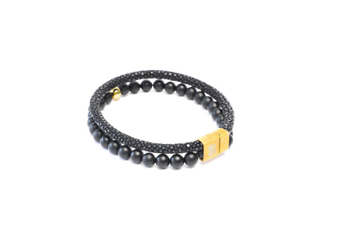 Multi Layer Bracelet with Black Stingray Leather and Black Onyx Gemstones