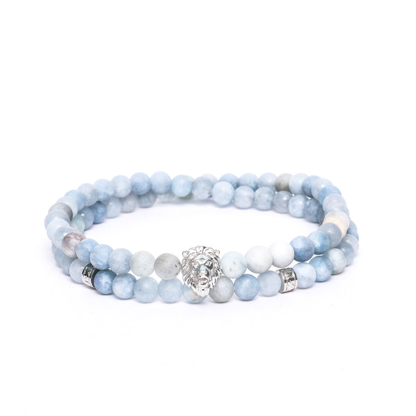Lion Head Double Wrap Bracelet in Aquamarine Gemstone Beads