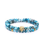 Lion Head Double Wrap Bracelet in Apatite Gemstone Beads