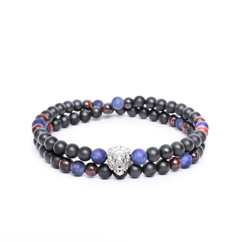 Lion Head Double Wrap Bracelet with Mix Gemstone Beads