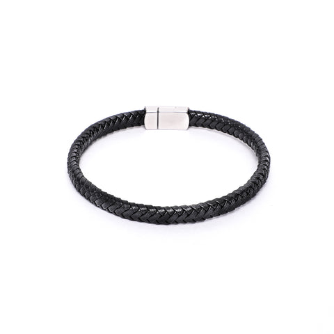 8x5mm Black Flat Leather Bracelet