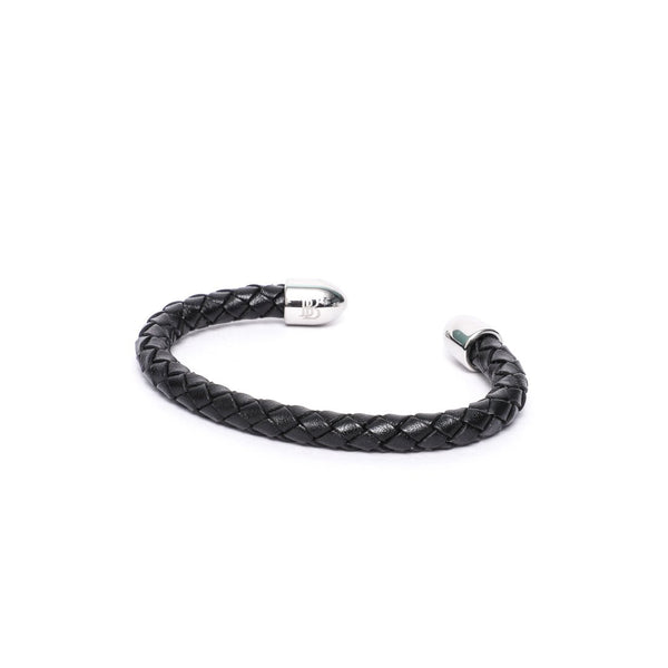 6mm Round Braided Leather Cuff Bracelet