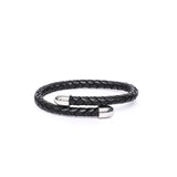 6mm Round Double Braided Leather Cuff Bracelet