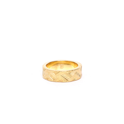 Cross Hatch Gold Ring