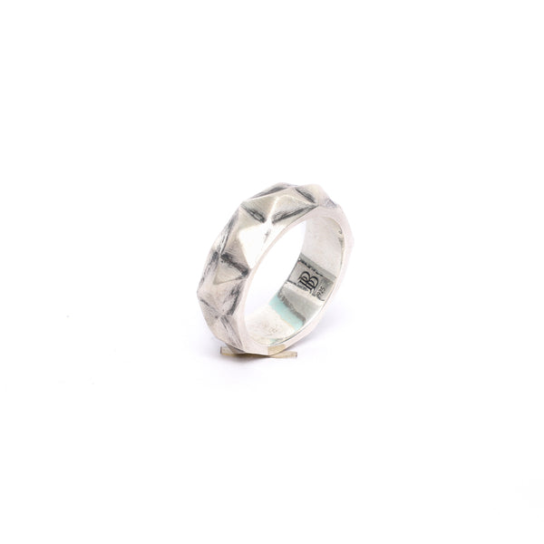 3D Geo Facet Ring with Oxidized Finish