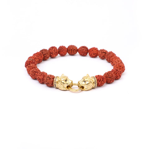Twin Tiger Bracelet in Rudraksha Beads