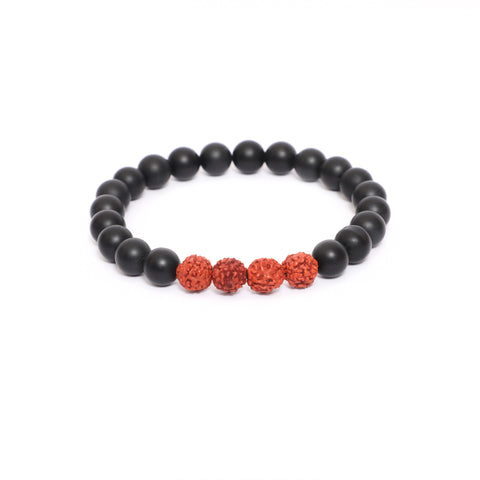 10mm Link Bracelet in Rudraksha & Black Onyx Gemstone Beads