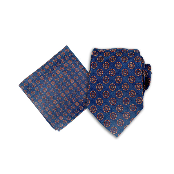 Fashionable Polka Dot Silk Tie & Pokcet Square,  Deep Blue