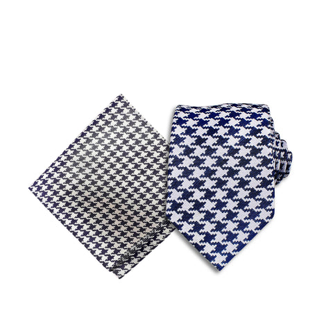 Hounds Tooth Silk Tie &b Pocket Square, Blue & White