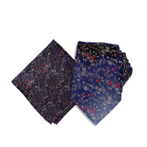 Free Fall Floral Theme Silk Tie & Pocket Square, Navy