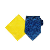 Floral Buzz Silk Tie, Royal Blue & Solid Tone Pocket Square, Yellow