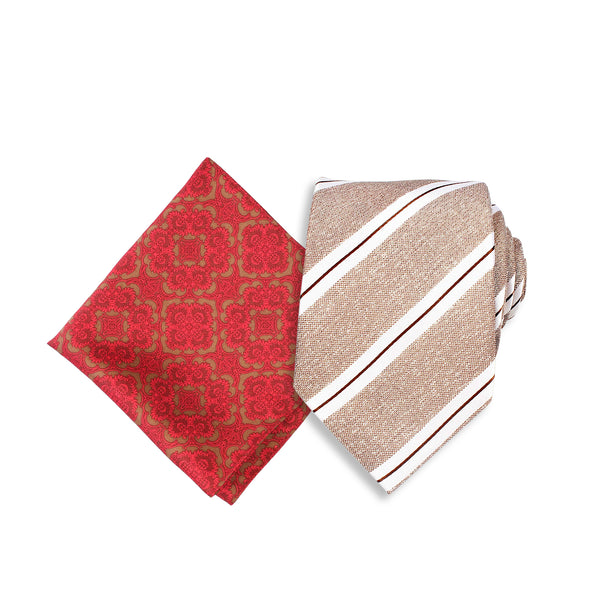 Formal Silk Tie, Brown & Two Tone Pocket Square, Red & Brown