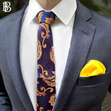 Ceremony Paisely Silk Tie, Dark Blue & Solid Tone Pocket Square, Yellow