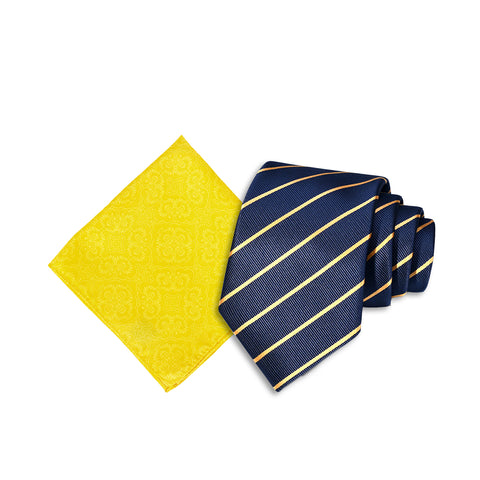 Two Tone Striped Neck Tie, Navy & Solid Tone Pocket Square, Yellow