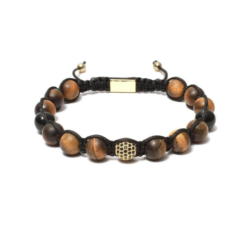 The Urban Pod Macrame Bracelet in Yellow Tiger Eye, Black Onyx Gemstones