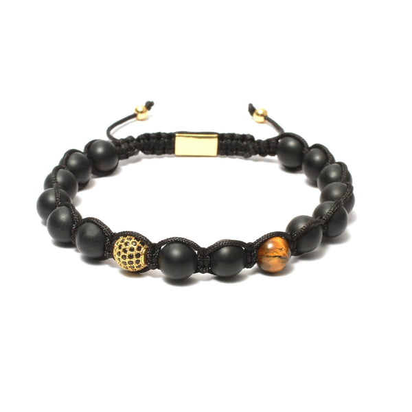 The Urban Pod Macrame Bracelet in Black Onyx, Yellow Tiger Eye Gemstones