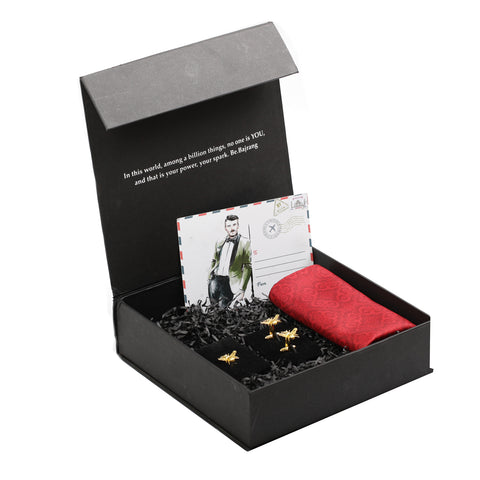 Gift Box: Solid Pocket Square, Quirky Bee Cufflink & Lapel Pin