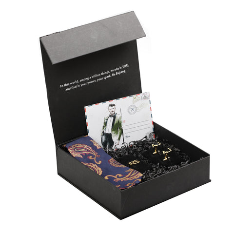 Gift Box: Personalized Initials Box with Bracelet, Cufflink & Navy Silk Paisley Tie