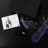 Gift Box: Woven Silk Tie & Pocket Square paired with an Infinity Lapel Pin & Beaded Gemstone Bracelet
